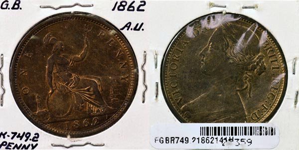 Great Britain, 1862 1 Penny, Cat# 749.2