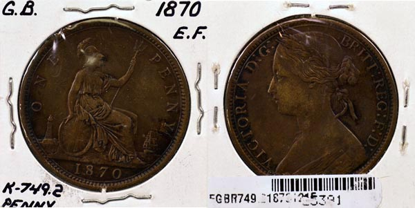 Great Britain, 1870 1 Penny, Cat# 749.2