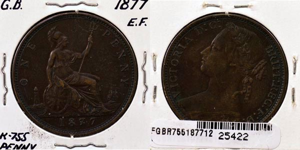 Great Britain, 1877 1 Penny, Cat# 755