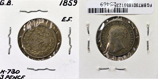 Great Britain, 1859 3 Pence, Cat# 730