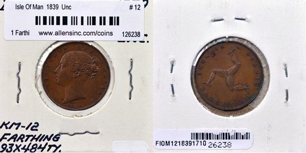 Isle Of Man, 1839 1 Farthing, Cat# 12