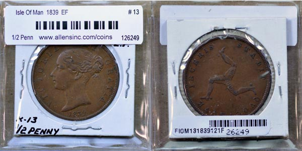Isle Of Man, 1839 1/2 Penny, Cat# 13 MAIN