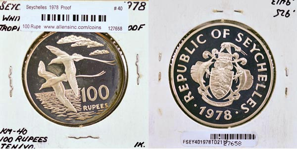 Seychelles, 1978 100 Rupees, Cat# 40, Proof