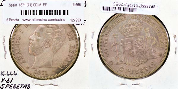 Spain, 1871 (71) SD-M 5 Pesetas, Cat# 666