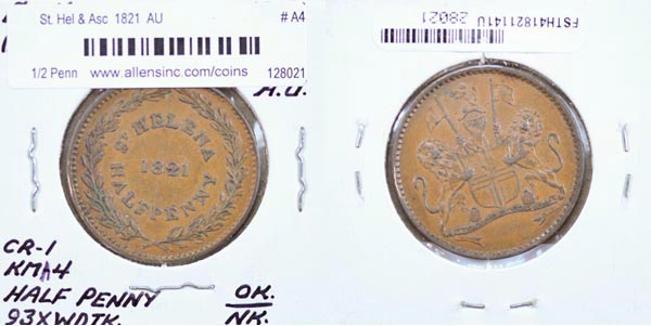St. Helena & Ascension, 1821 1/2 Penny, Cat# A4