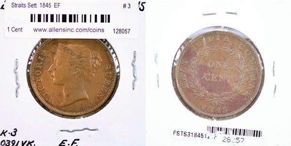 Straits Settlements, 1845 1 Cent, Cat# 3