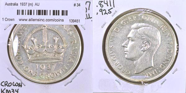 Australia, 1937 (m) 1 Crown, Cat# 34
