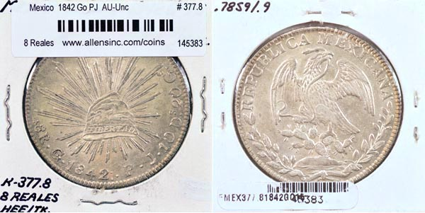 Mexico, Republic, 1842 Go PJ 8 Reales, Cat# 377.8
