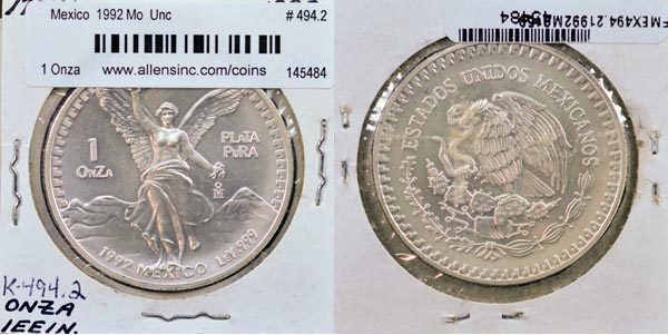 Mexico, United States, 1992 Mo 1 Onza, Cat# 494.2