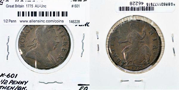 Great Britain, 1775 1/2 Penny, Cat# 601