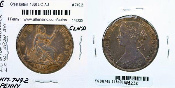 Great Britain, 1860 Los 1 Penny, Cat# 749.2