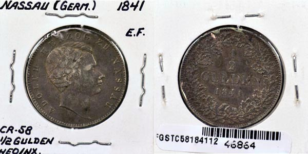 German States, Nassau, 1841 1/2 Gulden, Cat# C58