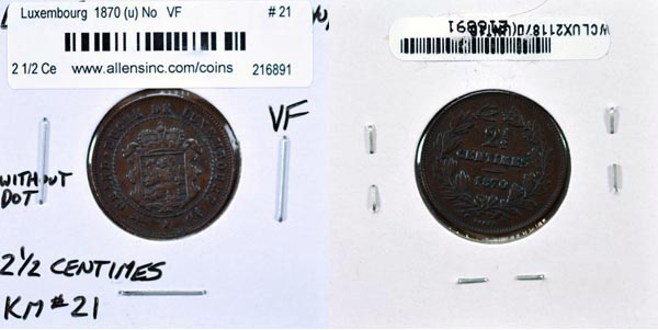 Luxembourg, 1870 (u) ND 2 1/2 Centimes, Cat# 21