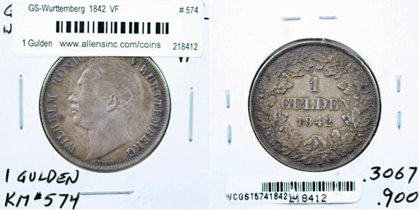 German States, Wurttemberg, 1842 1 Gulden, Cat# 574