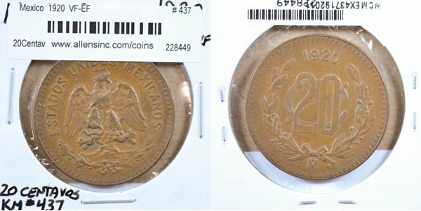 Mexico, United States, 1920 20Centavos, Cat# 437