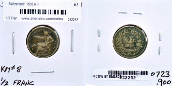 Switzerland, 1850 A 1/2 Franc, Cat# 8