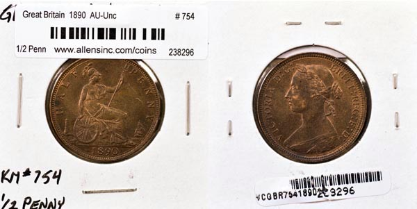 Great Britain, 1890 1/2 Penny, Cat# 754