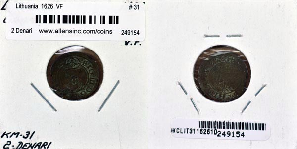 Lithuania, 1626 2 Denari, Cat# 31