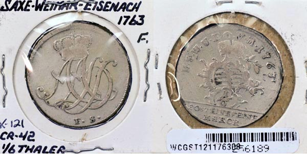 German States, Saxe-Weimar-Eisenach, 1763 1/6 Thaler, Cat# 121