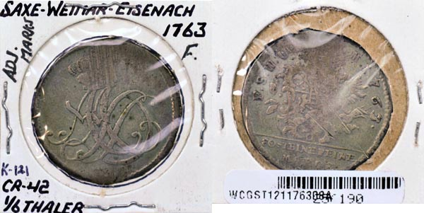 German States, Saxe-Weimar-Eisenach, 1763 1/6 Thaler, Cat# 121 MAIN