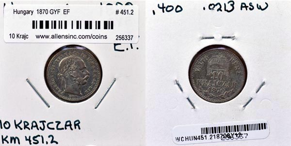 Hungary, 1870 GYF 10 Krajczar, Cat# 451.2
