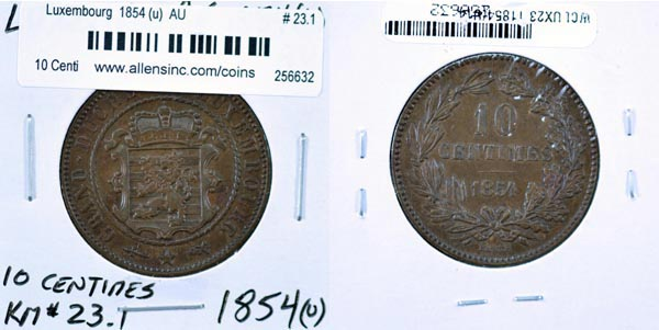 Luxembourg, 1854 (u) 10 Centimes, Cat# 23.1