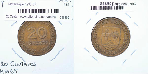 Mozambique, 1936 20 Centavos, Cat# 64 MAIN