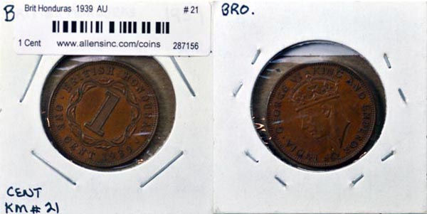 British Honduras, 1939 1 Cent, Cat# 21
