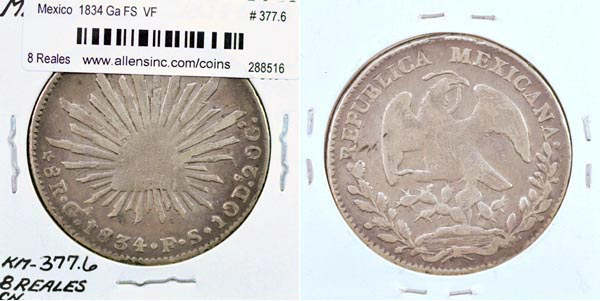 Mexico, Republic, 1834 Ga FS 8 Reales, Cat# 377.6