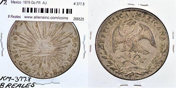 Mexico, Republic, 1876 Go FR 8 Reales, Cat# 377.8
