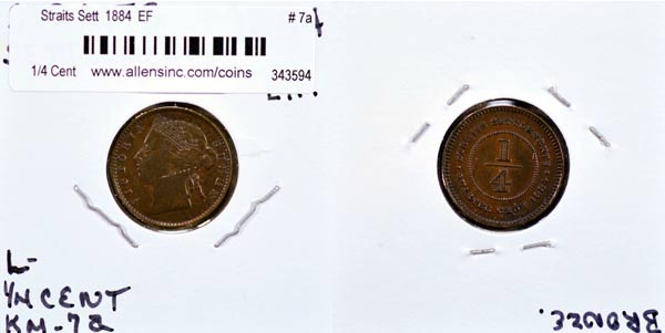 Straits Settlements, 1884 1/4 Cent, Cat# 7a
