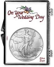 1991 Wedding Day American Silver Eagle Gift Display THUMBNAIL