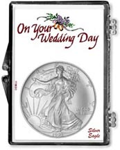 1995 Wedding Day American Silver Eagle Gift Display THUMBNAIL