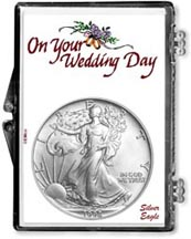 1998 Wedding Day American Silver Eagle Gift Display THUMBNAIL
