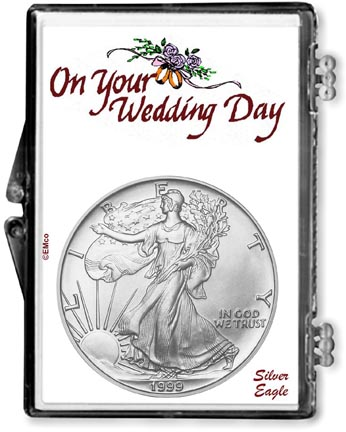 1999 Wedding Day American Silver Eagle Gift Display LARGE