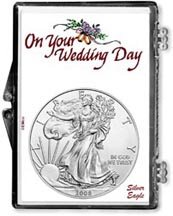 2008 Wedding Day American Silver Eagle Gift Display THUMBNAIL