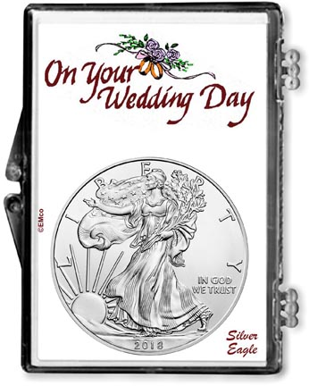 2018 Wedding Day American Silver Eagle Gift Display LARGE