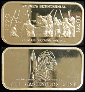 Columbus Discovers America' Art Bar by Washington Mint.