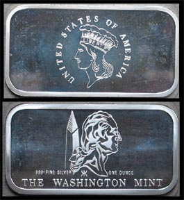 U.S. $3 Gold' Art Bar by Washington Mint.
