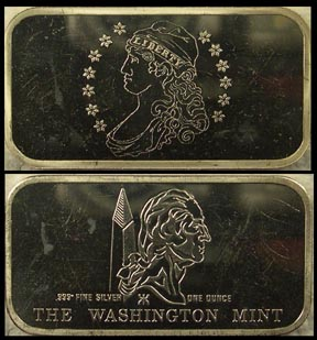 Capped Bust' Art Bar by Washington Mint.