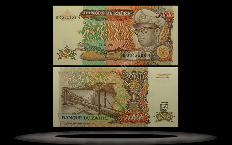 Zaire Banknote, 500 Zaires, 24.6.1989, P#34a MAIN