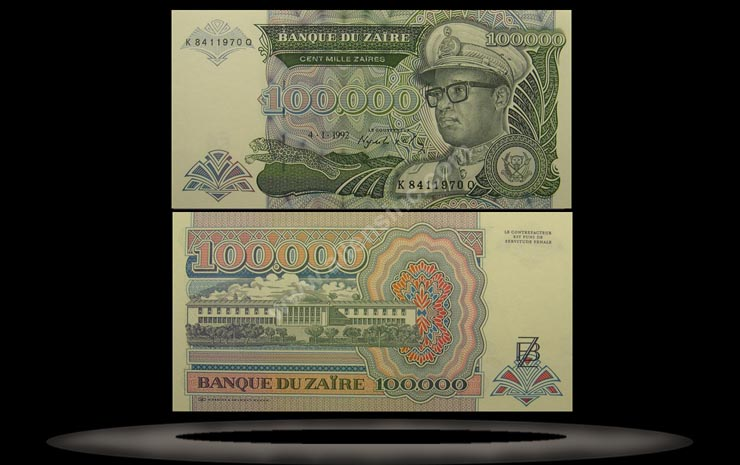 Zaire Banknote, 100,000 Zaires, 4.1.1992, P#41a
