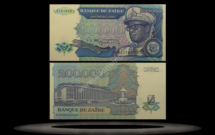 Zaire Banknote, 200,000 Zaires, 1.3.1992, P#42a