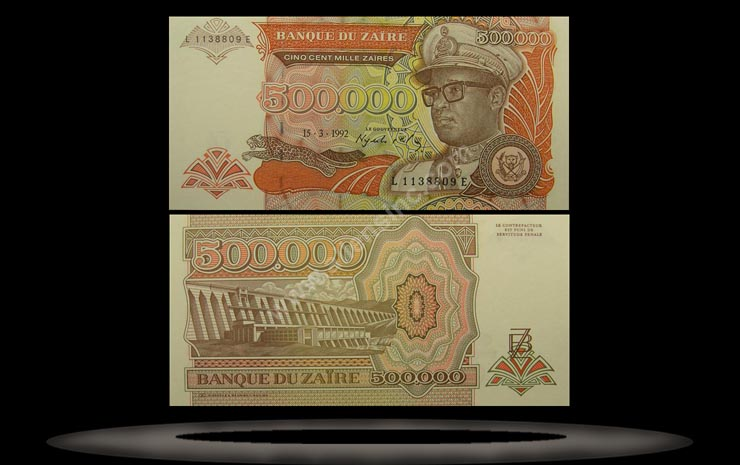 Zaire Banknote, 500,000 Zaires, 15.3.1992, P#43a