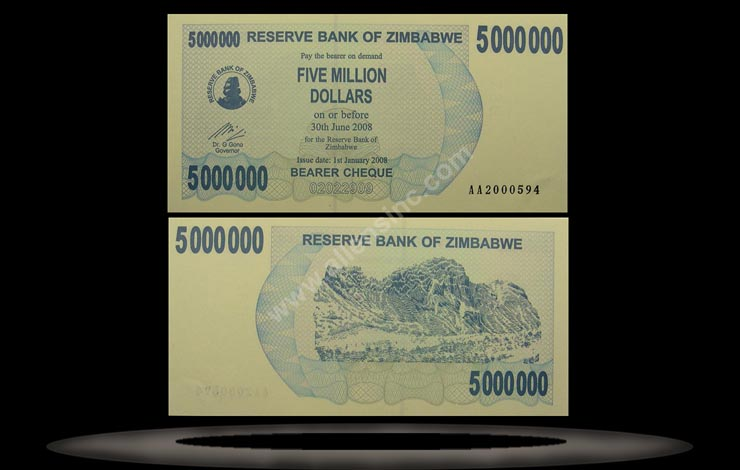 Zimbabwe Banknote, 5 Million Dollars, 1.1.2008, P#54