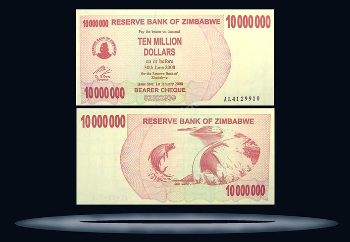 Zimbabwe Banknote, 10 Million Dollars, 1.1.2008, P#55