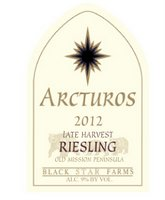 2012 Arcturos Late Harvest Riesling white wine label