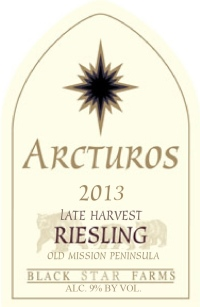 2013 Arcturos Late Harvest Riesling white wine label