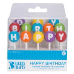 Happy Birthday Candle Holders & Candles LARGE