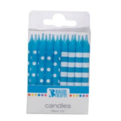 Stripes & Dots Candles - Blue LARGE
